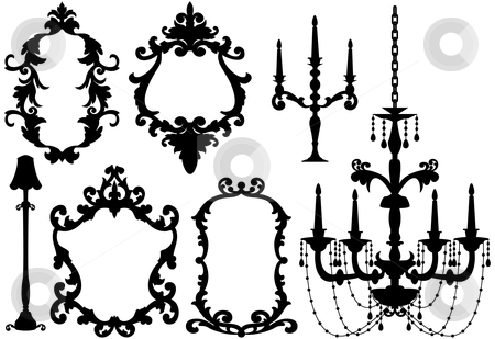 Picture frames and chandelier  stock vector clipart, Antique picture frames and crystal chandelier silhouette, vector by Beata Kraus