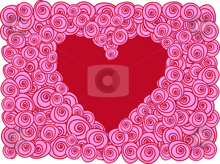 Red heart with roses, vector greeting card stock vector clipart, Red heart with pink roses, vector background by Beata Kraus