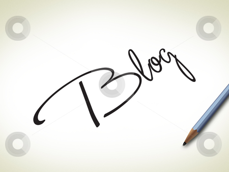Brush Stroke Blog stock photo, Blog sign in brush stroke with pencil by Seeni Vasagams