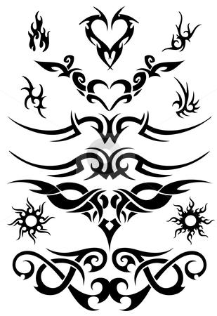 Attoo design elements stock vector clipart, Set of tattoo design elements, vector by Beata Kraus