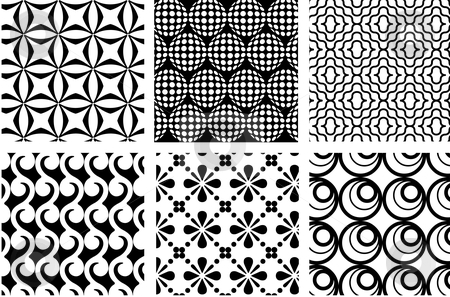 Retro patterns stock vector clipart, Set of seamless retro patterns, vector by Beata Kraus