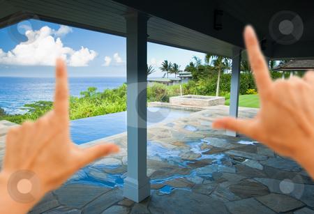 Hands Framing Breathtaking Hawaiian Ocean View Deck stock photo, Hands Framing Breathtaking Hawaiian Ocean View Deck and Pool with Deep Blue Sky by Andy Dean