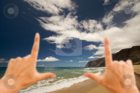 Hands Framing Polihale Beach, Kauai stock photo, Hands Framing Polihale Beach on Kauai, Hawaii by Andy Dean