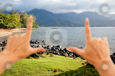 Hands Framing Beautiful Hanalei Bay stock photo, Hands Framing Beautiful Hanalei Bay Late One Summer Afternoon. by Andy Dean