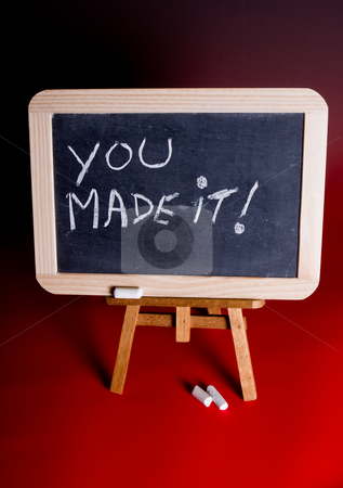 Congratulations stock photo, Blackboard with chalk and