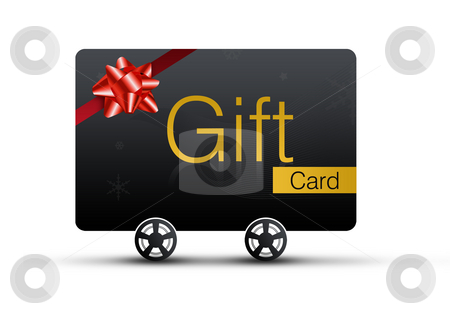 Gift Card stock photo, Gift Cards with shopping concept. Isolated on white background by Seeni Vasagams