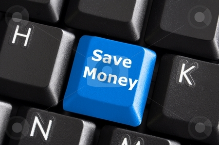 Save money stock photo, Save money for investment concept with a blue button on computer keyboard by Gunnar Pippel