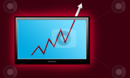 Business Graph  stock photo, LCD screen on red wall by Seeni Vasagams