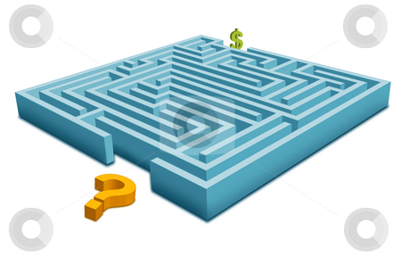 Maze with Question stock photo, How can Earn Money! -Question with Dollar by Seeni Vasagams