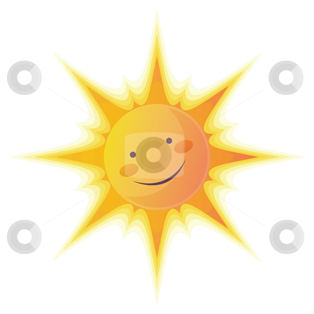 Cartoon Sun stock photo, Cartoon illustration of a sun with a smile face. by Su Li