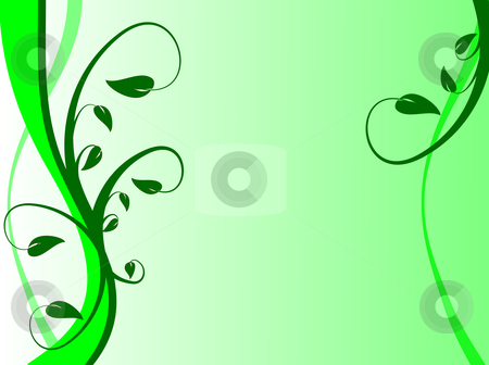 Green Floral Background Illustration stock vector clipart, A green floral background with dark green leaves on a lighter green  graduated background by Mike Price