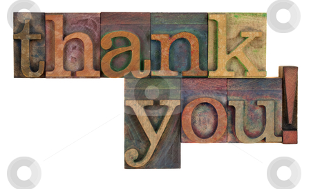 Thank you in letterpress type stock photo, Thank you  words in vintage wood letterpress type, stained by color inks, isolated on white by Marek Uliasz