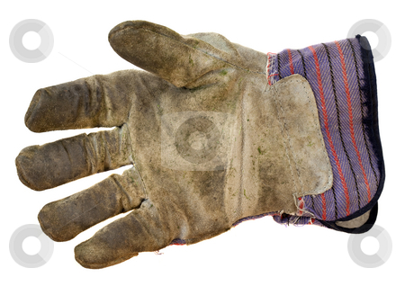 Work leather glove stock photo, Work leather glove in dirty and used condition, isolated on white by Marek Uliasz