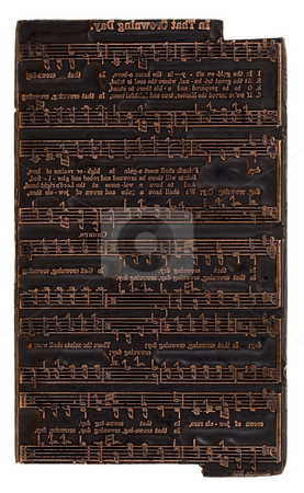 Letterpress printer electrotype music plate stock photo, Antique (1911 - one hundred years old) copper letterpress printer electrotype music plate with hymn (song) by Marek Uliasz