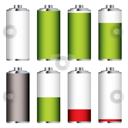 Battery charge clear stock vector clipart, Collection of batteries in state of charge with clear body by Michael Travers