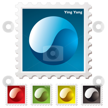 Ying yang stamp stock vector clipart, Collection of ying yang stamps with transparent effect by Michael Travers
