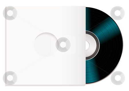 Shiny cd and case stock vector clipart, Black music record with white cover or sleeve by Michael Travers
