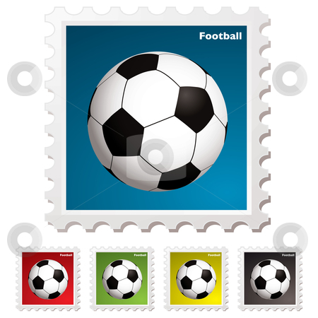 Football world stamp stock vector clipart, Football sticky stamp sticker concept with traditional ball by Michael Travers