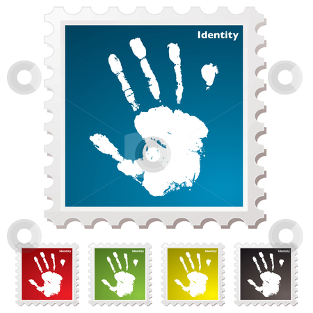 Identity hand print stamp stock vector clipart, Ink hand print identity stamp with colour variation by Michael Travers