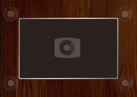 Dark wood frame stock vector clipart, Dark wooden frame with grain and silver metal bevel by Michael Travers