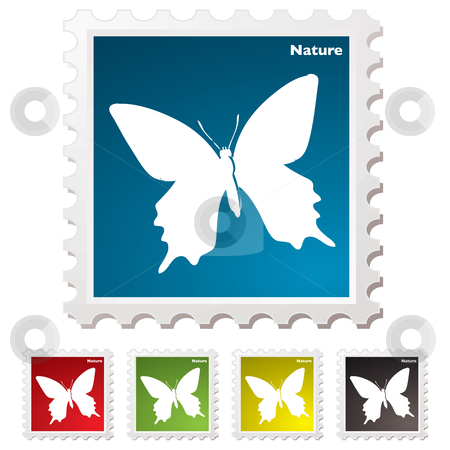 Nature butterfly stamp stock vector clipart, Nature inspired white butterfly postage stamp illustration by Michael Travers
