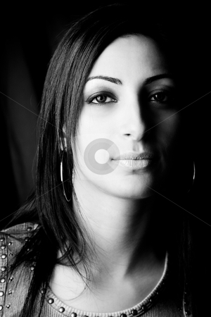 Fashion model - portrait stock photo, Blacn and white portrait of a twenty something fashion model by Yann Poirier
