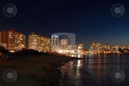 Seaside at night stock photo, Seaside at night. Punta del Este, Uruguay. by Cienpies Design