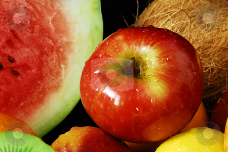 Colorful fresh group of fruits stock photo, Colorful fresh group of fruits for a balanced diet. Black background. Look at my gallery for more fresh fruits and vegetables. by Cienpies Design
