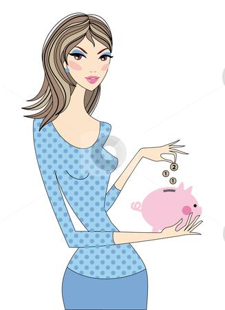 Woman saving money  stock vector clipart, Woman saving money with piggy bank, vector by Beata Kraus