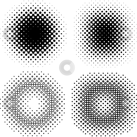 Abstract background pattern stock vector clipart, Set of halftone grid elements by Beata Kraus