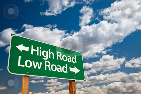 High Road, Low Road Green Road Sign stock photo, High Road, Low Road Green Road Sign with Copy Room Over The Dramatic Clouds and Sky. by Andy Dean