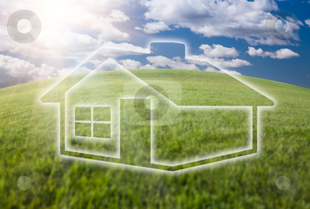 Dreamy House Icon Over Grass Field and Sky stock photo, Dreamy House Icon Over Arched Horizon of Empty Grass Field and Deep Blue Sky with Clouds. by Andy Dean