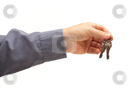 Man Handing Over the Keys stock photo, Man Handing Over the Keys Isolated on a White Background. by Andy Dean