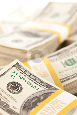Stacks of One Hundred Dollar Bills stock photo, Stacks of Ten Thousand Dollar Piles of One Hundred Dollar Bills. by Andy Dean