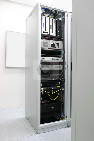 Rack with network equipment stock photo, Rack with network equipment in technology telehouse room by Artush