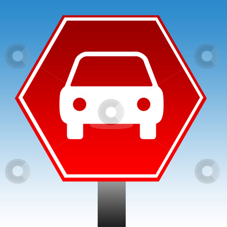 No cars of vehicles sign stock photo, No cars of vehicles warning sign with copy space and blue sky background. by Martin Crowdy
