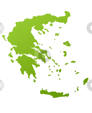 Greek Islands map stock photo, Greece or Greek islands map in green, isolated on white background. by Martin Crowdy