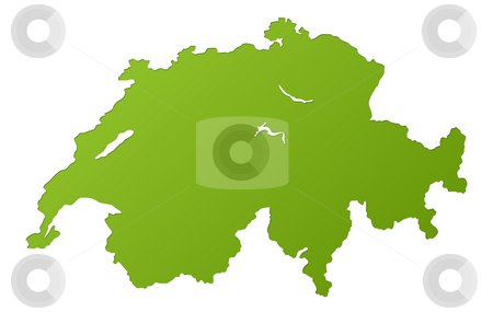 Map of Switzerland stock photo, Map of Switzerland in gradient green, isolated on white background. by Martin Crowdy