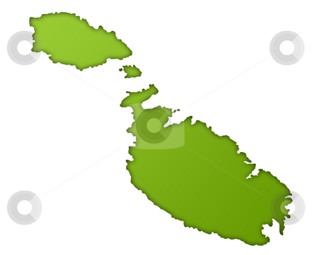 Malta map stock photo, Malta map in gradient green, isolated on white background. by Martin Crowdy