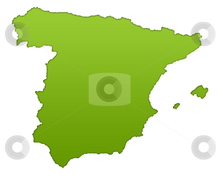 Spain map stock photo, Spain map in gradient green, isolated on white background. by Martin Crowdy