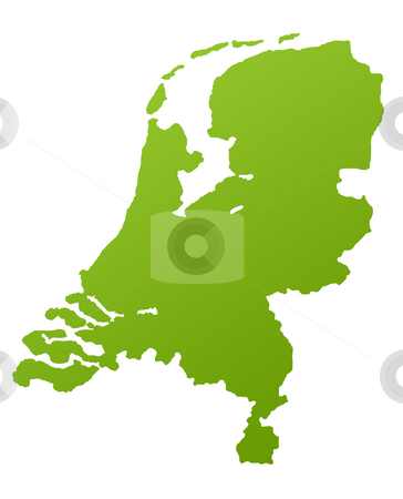 Holland map stock photo, Netherlands or Holland map in green, isolated on white background. by Martin Crowdy