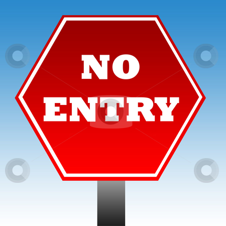 No entry warning sign stock photo, No entry warning sign with copy space and blue sky background. by Martin Crowdy