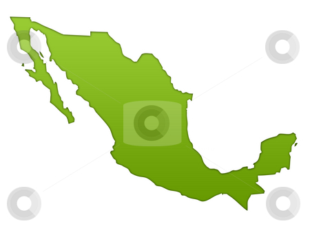 Mexico map stock photo, Mexico map in gradient green, isolated on white background. by Martin Crowdy