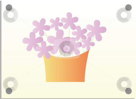 Flower stock photo, Illustration drawing of purple flower and basket in white background by Su Li