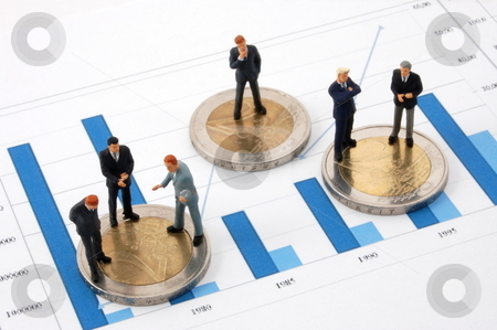 Businessman and money over a chart stock photo, Successful businessman and euro money over business chart by Gunnar Pippel