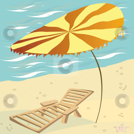 Summer card stock photo, Lounge chair and umbrella on the beach by Richard Laschon