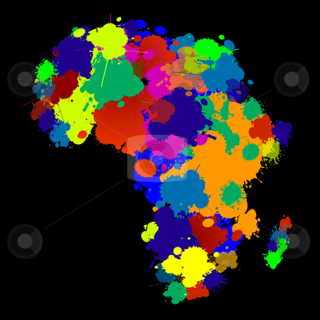 Africa stock vector clipart, Creative design with africa map in colors by Richard Laschon