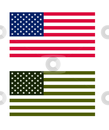 American eco flag stock photo, American flag in normal and eco green colors, isolated on white background. by Martin Crowdy