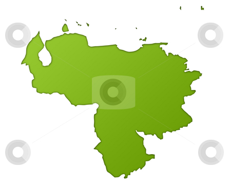 Venezuela map stock photo, Venezuela map in gradient green, isolated on white background. by Martin Crowdy