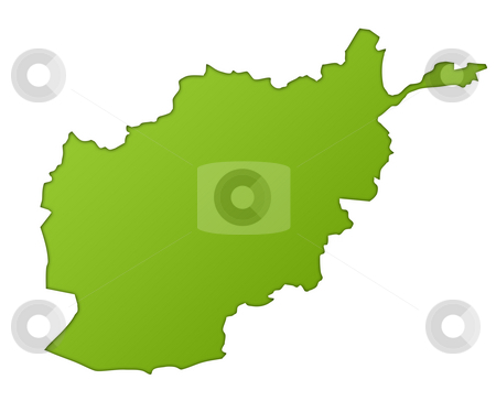 Afghanistan map stock photo, Afghanistan map in gradient green, isolated on white background. by Martin Crowdy